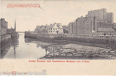 CASTLE RUSHEN & CASTLETOWN HARBOUR 1905 HOLD TO LIGHT POSTCARD