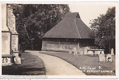 BELL CAGE & EAST BERGHOLT CHURCH - 1934 REAL PHOTO POSTCARD (ref 4328/12)