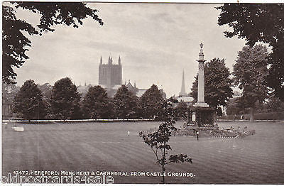HEREFORD: MONUMENT & CATHEDRAL FROM CASTLE GROUNDS - 1916 POSTCARD (ref 6070/13)