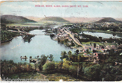 HOKAH, MINN., LAKE COMO FROM MT. TOM - 1908 LA CROSSE P/MARK (ref 1980)