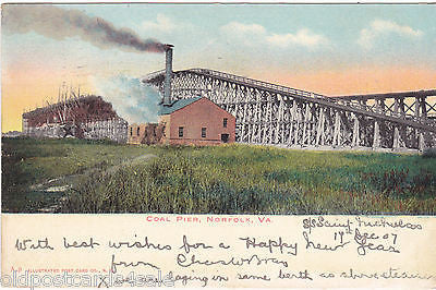 NORFOLK, VA., COAL PIER - 1907 UNDIVIDED BACK POSTCARD (ref 4847)