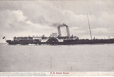 P.S. SOLENT QUEEN - 1920s POSTCARD - PADDLE STEAMER (our ref 1316)