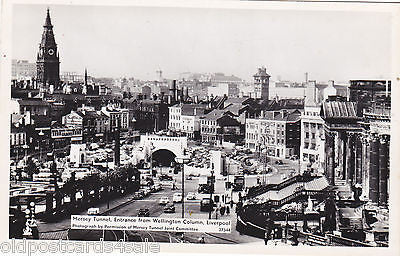 MERSEY TUNNEL ENTRANCE FROM WELLINGTON COLUMN, LIVERPOOL - REAL PHOTO (ref 6432)