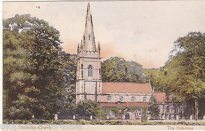 THORESBY CHURCH, THE DUKERIES - PRE 1918 GLITTER POSTCARD (ref 4731)