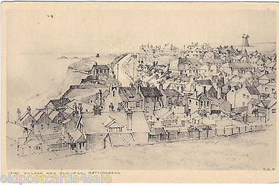 THE VILLAGE AND OLD MILL, ROTTINGDEAN - OLD SKETCH POSTCARD (ref 2208)