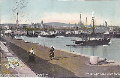 KINGSTOWN FROM EAST PIER - DUBLIN - 1905 POSTCARD (ref 5163/13)