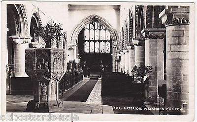 INTERIOR, WALSOKEN CHURCH - OLD REAL PHOTO POSTCARD (our ref 01040)