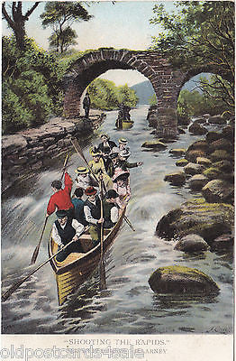 SHOOTING THE RAPIDS, OLD WEIR BRIDGE, KILLARNEY - OLD POSTCARD (ref 3916/16)