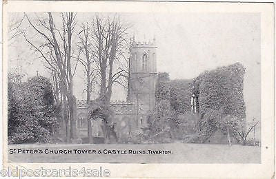 ST PETER'S CHURCH TOWER & CASTLE RUINS, TIVERTON, COVE POSTMARK 1906 (ref 5028/Y