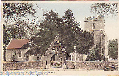 ST MARY'S CHURCH & LYCH GATE, WENDOVER - 1924 POSTCARD  (ref 2099/15)