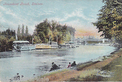 HOUSEBOAT REACH, STAINES - 1909 POSTCARD (ref 3415)