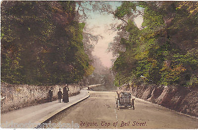 REIGATE - TOP OF BELL STREET - OLD CAR - 1911 POSTCARD