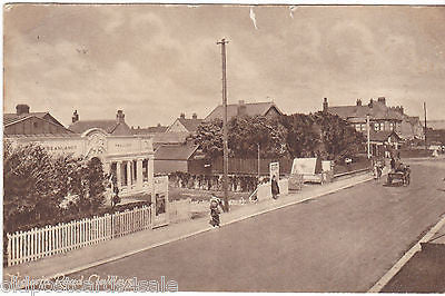 VICTORIA ROAD CLEVELEYS - 1919 POSTCARD SHOWING BEANLANDS PAVILION (ref 4360/12)