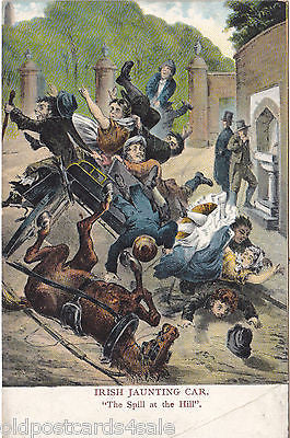 IRISH JAUNTING CAR - THE SPILL AT THE HILL - OLD POSTCARD (ref 3921/16)