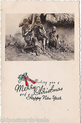 AFRICAN CHRISTMAS CARD WITH NATIVES - REAL PHOTO POSTCARD (ref 3857)