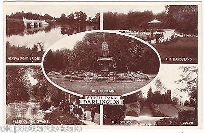 SOUTH PARK, DARLINGTON - REAL PHOTO MULTIVIEW POSTCARD (ref 1888)
