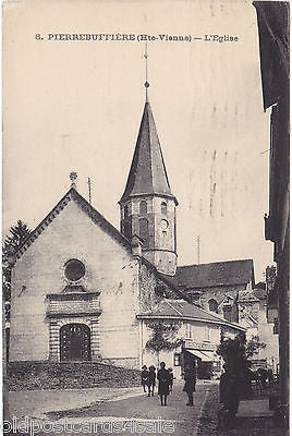 PIERREBUFFIERE - L'EGLISE (Hte-Vienne) - 1918 POSTCARD PASSED BY WARTIME CENSOR