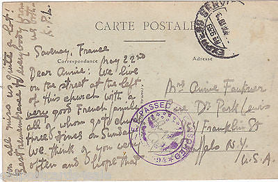 SAVENAY - RUE ET CLOCHER DE L'EGLISE - PASSED BY CENSOR POSTCARD (ref 3727)