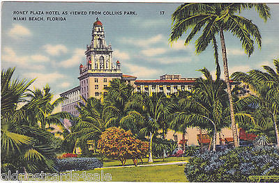RONEY PLAZA HOTEL AS VIEWED FROM COLLINS PARK, MIAMI BEACH FLORIDA (ref 5458