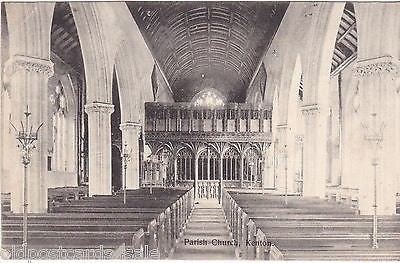 PARISH CHURCH, KENTON, DEVON - INTERIOR - 1904 POSTCARD