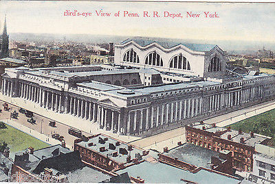 BIRD'S EYE VIEW OF PENN. R.R. DEPOT, NEW YORK - POSTCARD (ref 4709/12)