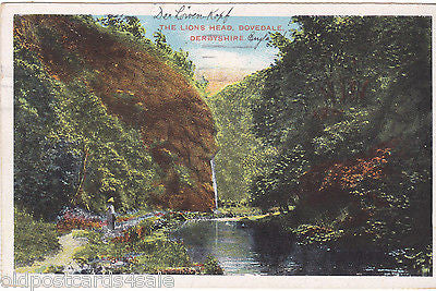 THE LION'S HEAD, DOVEDALE, DERBYSHIRE - 1909 POSTCARD (ref 4409/12)