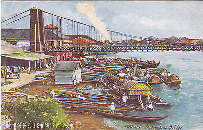 MANILA SUSPENSION BRIDGE - TUCK OILETTE POSTCARD - DAMAGED (ref 4168/13)