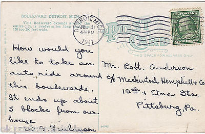 BOULEVARD, DETROIT, MICHIGAN - 1911 POSTCARD (ref 5923/13)