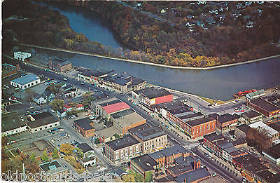 DOWNTOWN MEDINA & NY STATE BARGE CANAL, NY- 1960s AERIAL POSTCARD  (ref 6462/13)