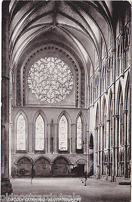 LINCOLN CATHEDRAL, SOUTH TRANSEPT - OLD POSTCARD (ref 1619/14)