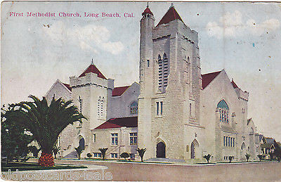 FIRST METHODIST CHURCH, LONG BEACH, CALIFORNIA - 1921 POSTCARD (ref 4824)