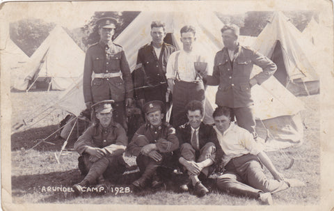 Real photo postcard of unidentified soldiers at Arundel Camp, Sussex, England in 1928