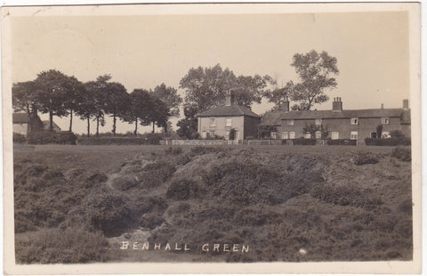 Old real photo postcard of Benhall Green, Suffolk, nr Saxmundham