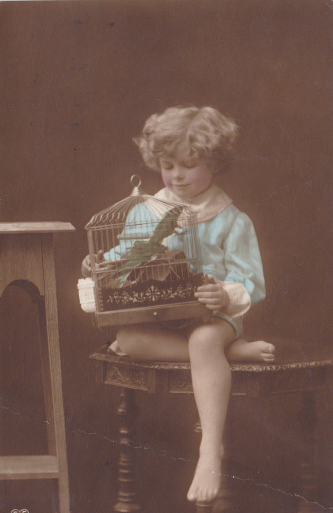 CHILD WITH BIRD IN CAGE - OLD POSTCARD