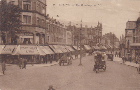 Old postcard of The Broadway, Ealing, London