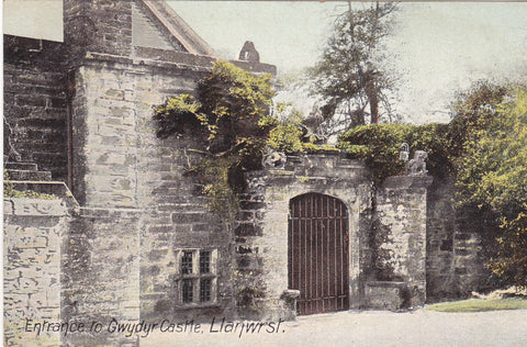 Old postcard showing the Entrance to Gwydyr Castle, Llanwrst