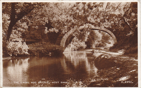 THE CANAL AND BRIDGE, HEST BANK - REAL PHOTO LANCASHIRE POSTCARD