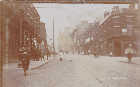 Old real photo postcard of High Street, Tunstall, Staffordshire