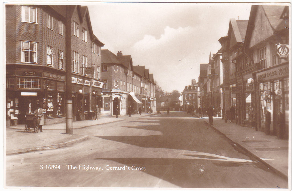 Old real photo postcard of The Highway, Gerrards Cross