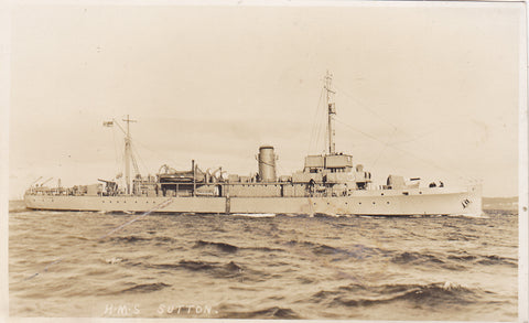 Old postcard of HMS Sutton - minesweeper