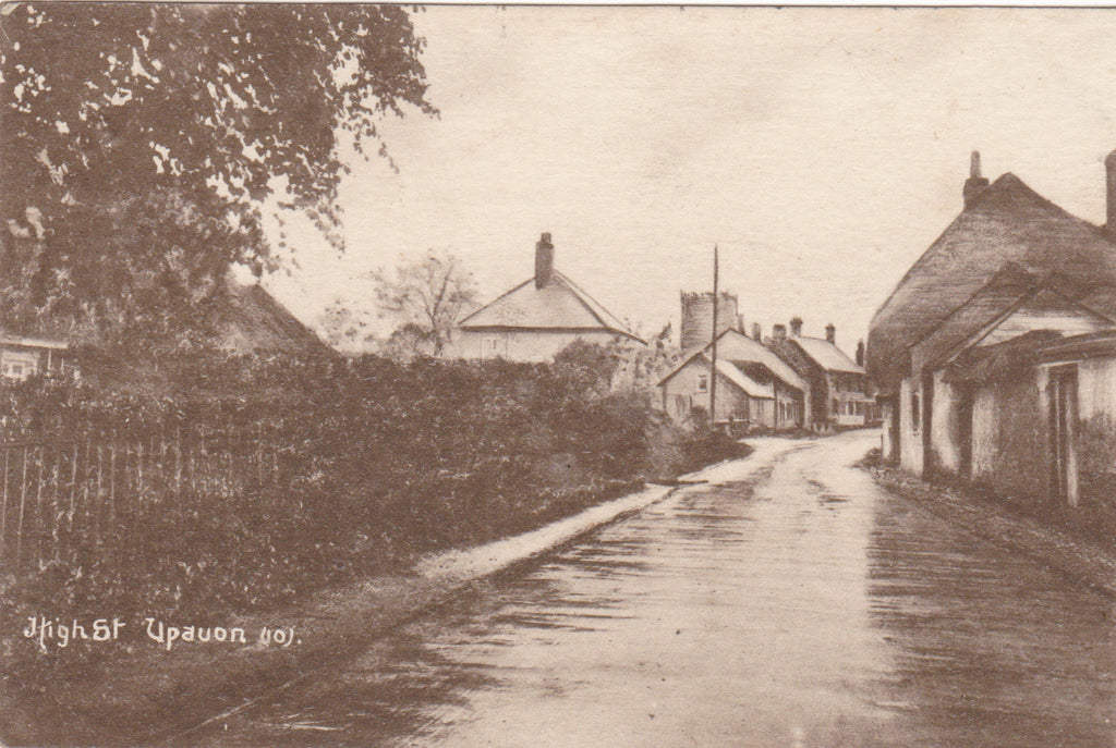 Old postcard of High Street, Upavon in Wiltshire