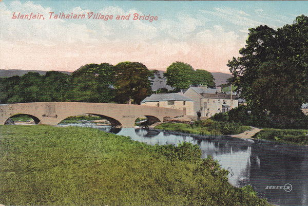 Old postcard of Llanfair Talhaiarn Village and Bridge, historically in Denbighshire