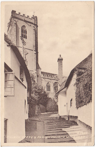 ld postcard of Minehead, Church Steps and Parish Church