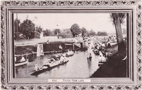 Old real photo postcard of Penton Hook Lock, nr Staines in Surrey