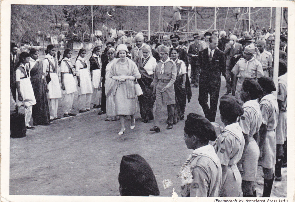 HM The Queen and HRH Duke of Edinburgh inspect Indian Guides and Scouts at a Rally in New Delhi, 1961