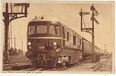 Old postcard of SAS Turbine Locomotive 18000 (W Region)