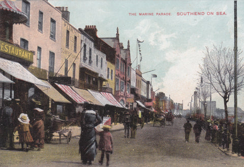 Old postcard of The Marine Promenade, Southend on Sea
