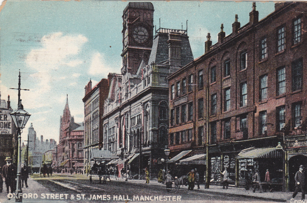 Oxford Street and St James Hall, Manchester, 1910 postcard
