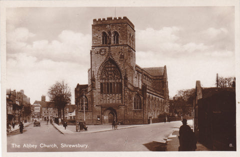 ABBEY CHURCH, SHREWSBURY - REAL PHOTO POSTCARD (ref 2473/17)
