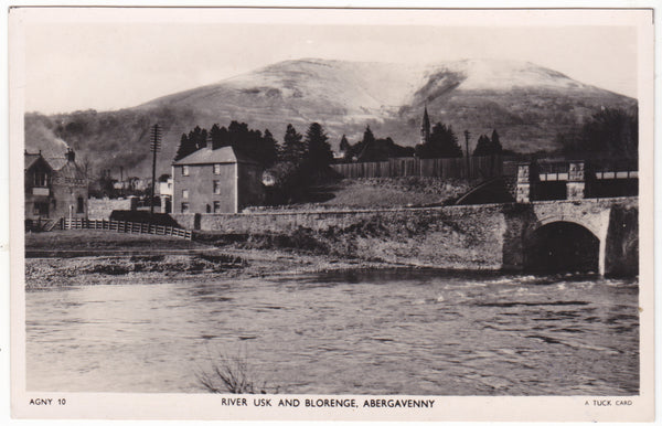 RIVER USK AND BLORENGE, ABERGAVENNY - TUCK REAL PHOTO POSTCARD